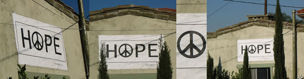 Hope for Peace posters displayed on a house